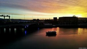 Stephen McKenna captured this lone boat on the River Lagan in Belfast silhouetted by the winter sun rising.