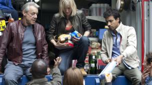 Roger Lloyd Pack with other members of the Survivors cast