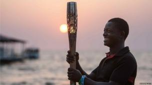 The sunset during the Queen's Baton Relay visit to Freetown, Sierra Leone.