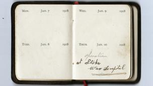 Diary reads: Jan 10 1918 - operation at Stoke War Hospital.