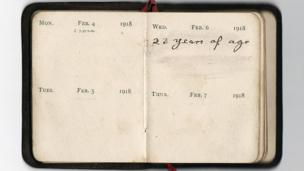 Diary reads: February 6 1918 - 23 years of age.