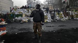 Anti-government protesters in Kiev (28 January 2014)