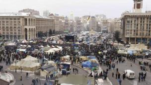 Protest camp in central Kiev (28 January 2014)