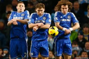 Chelsea's (L-R) Nemanja Matic, Branislav Ivanovic and David Luiz jump to block the ball during their English Premier League soccer match against Manchester City at the Etihad Stadium in Manchester
