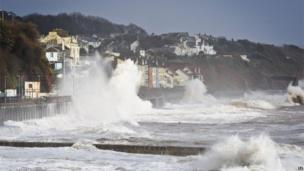 A wave hitting the sea wall in Dawlish
