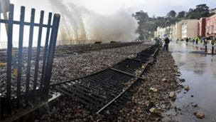 Damage to the track at Dawlish, Devon