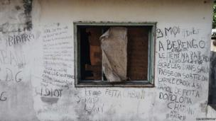 Graffiti on the walls of the old palace of Emperor Bokassa - Central African Republic, February 2014