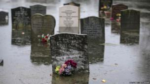 Rising flood waters surround headstones in the graveyard of Moorland church on the Somerset Levels near Bridgwater