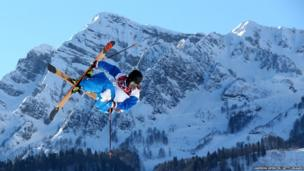 Antoine Adelisse of France competes in the Freestyle Skiing Men's Ski Slopestyle Qualification