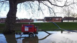 The scene in Hylton Road, Worcester, where a pump was brought in on Wednesday night