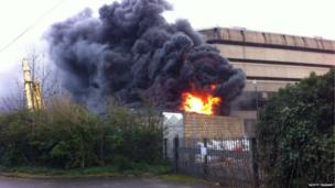 A fire broke out at two disused water towers at the National Archives in Kew, London. Photo: Scott Taggart