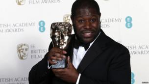 Steve McQueen with the Bafta for best film for 12 Years a Slave