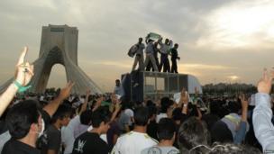 Protests in Azadi Square, Iran.