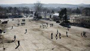 Syrian refugee centre at Harmanli in southern Bulgaria