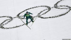 Japan's Yusuke Minato on the ski jump in Sochi