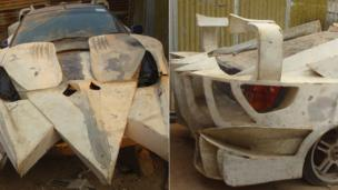 A car which is being remodelled to look like a crocodile pictured from different angles at Godfrey Namunye's vehicle workshop in Kampala, Uganda