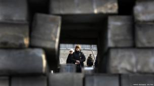A mourner is seen through a barricade in Kiev's Independent Square February 24, 2014.