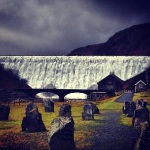The Caban Coch reservoir dam