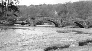River Dee and the bridge at Llandderfel, Gwynedd