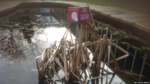 BBC mic cube in school pond