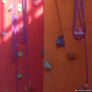 BBC mic cube on climbing wall