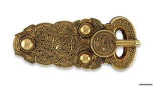 Gold belt buckle from the ship-burial at Sutton Hoo