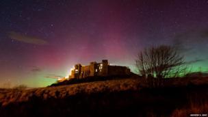 Aurora near Bamburgh Castle