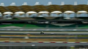 Valentino Rossi steers his bike during a MotoGP pre-season test at the Sepang circuit outside Kuala Lumpur, Malaysia