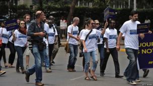 Kenya-based journalists demonstrate in Nairobi