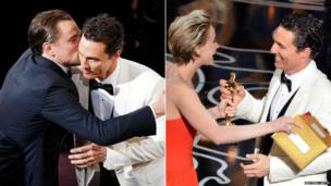 Matthew McConaughey with Leonardo DiCaprio and then with Jennifer Lawrence.