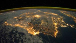The city lights of Spain and Portugal can be seen from the International Space Station.