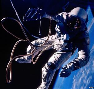 Ed White on the first United States Spacewalk on 3 June 1965 during the Gemini 4 mission.