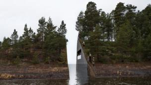An illustration of a planned memorial to the 2011 massacre on the island of Utoya in Sweden