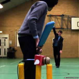 School Reporters playing cricket