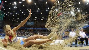 Darya Klishina competes in the long jump