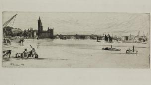 James Abbott McNeill Whistler, Old Westminster Bridge, 1871 (etching)