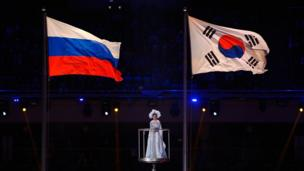 Flag of South Korea flies next to the flag of Russia.