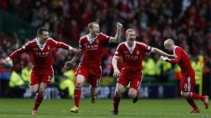 Aberdeen players celebrate