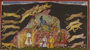 Rama, his brother Laksmana and Sugriva sit on a rock and send out the monkey forces in expeditions to hunt for Sita.