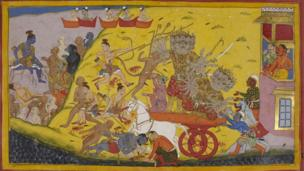 Laksmana is speared and Ravana eventually overwhelmed in a great battle