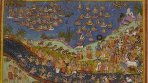 Rama and his followers arrive in procession and ascend to the celestial realm