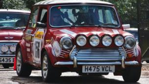 Cars arriving for Brooklands Mini Day 2014