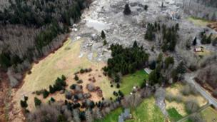 An aerial shot of the area affected, showing where the mud stopped