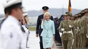 Governor General Quentin Bryce inspects the Federation Guard during her departure ceremony at RAAF Fairburn in Canberra, Australia