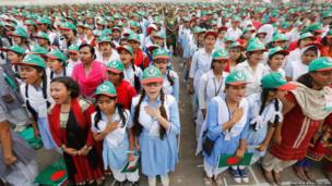People sing the national anthem of Bangladesh