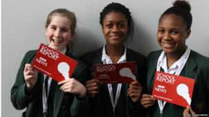 St Benedict's school, London students getting ready for News Day
