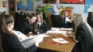 Pupils at The Heath School Runcorn begin preparing their stories.