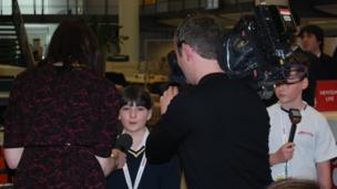 School Reporters interviewed for the news channel.