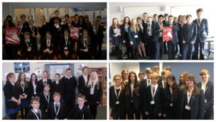 School Reporters from Perry Beaches The Academy, Uckfield Community Technology College, Farringdon Community Sports College and Moulsham High School on News Day 2014.