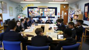 The pupils at Whitgift School have a board meeting on News Day 2014.